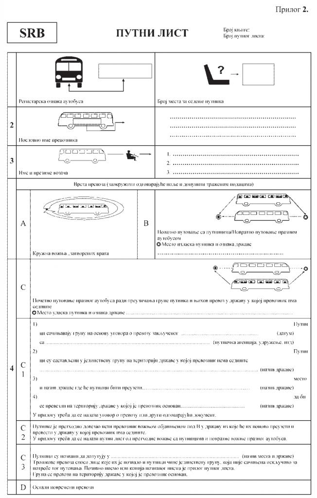pravilnik o putnim listovima međunarodni - putni list 1