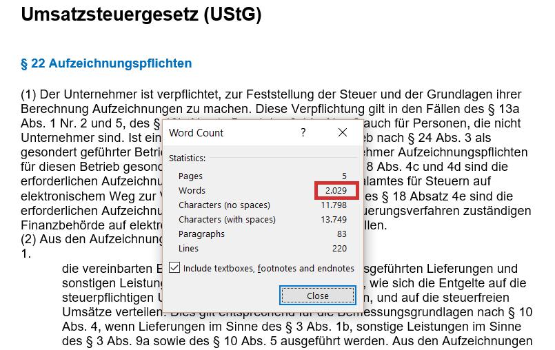 broj reči i karaktera_PDV evidencije Nemačka