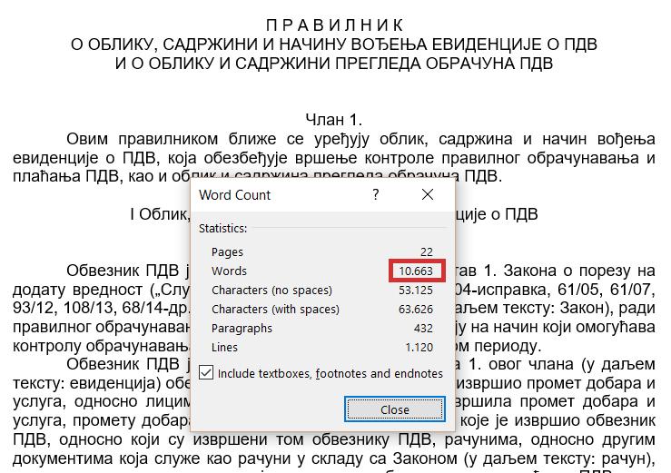 broj reči i karaktera_PDV evidencije radna verzija Ministarstva finansija