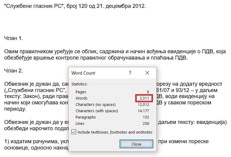 broj reči i karaktera_PDV evidencije stari pravilnik