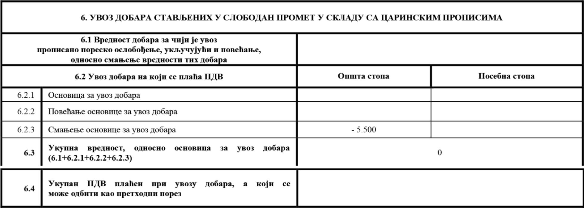 uputstvo PU obrazac POPDV primer 82 - 1.1